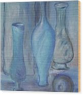 Blue Bottles  Wood Print by Michel Croteau