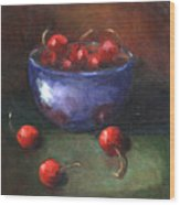 Blue Bowl And Cherries Wood Print