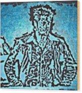 Blue Brad Wood Print