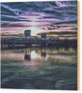 Blue Bridge At Sunset Wood Print