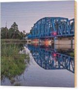 Blue Bridge Over The St. Marys River Kingsland, Georgia Wood Print