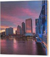 Blue Bridge Red Sky Jacksonville Skyline Wood Print by Debra and Dave Vanderlaan