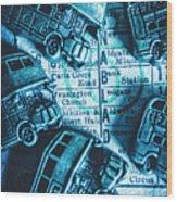 Blue Britain Bus Bill Wood Print