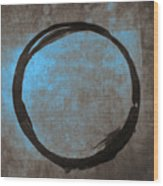 Blue Brown Enso Wood Print