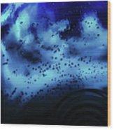 Blue Bubbles Wood Print