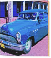 Blue Buick Wood Print