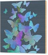 Blue Butterfly Flutter Wood Print