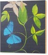 Blue Butterfly Wood Print