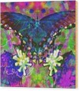 Blue Butterfly Pop Wood Print