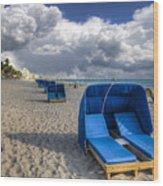 Blue Cabana Wood Print