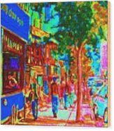 Blue Cafe In Springtime Wood Print