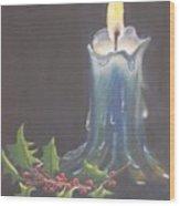 Blue Candle Wood Print