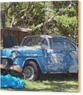 Blue Car On The Bayou Wood Print