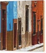 Blue Casa Row Wood Print