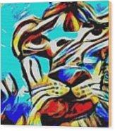 Blue Cat Blue Wood Print