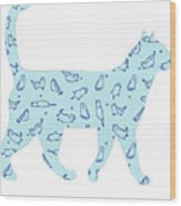 Blue Cat Cat Wood Print