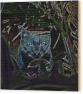 Blue Cat In The Garden Wood Print