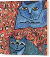 Blue Cats Wood Print