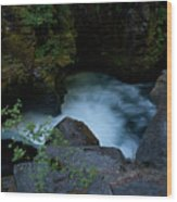 Blue Cauldron Waterfall Wood Print
