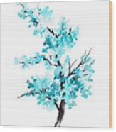 Blue Cherry Blossom Tree Watercolor Painting Wood Print