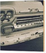 Blue Chevy Truck Grill Bw Wood Print