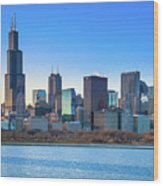 Blue Chicago Wood Print