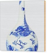 Blue  Chinese Chinoiserie Pottery Vase No 5 Wood Print