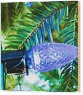 Blue Christmas Light Wood Print