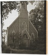 Blue Church In Gloucester Wood Print