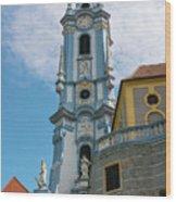 Blue Church Tower In Durnstein Wood Print