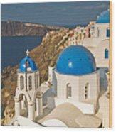 Blue Churches Of Santorini Wood Print by Jim Chamberlain