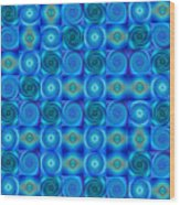 Blue Circles Abstract Art By Sharon Cummings Wood Print