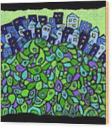 Blue City On A Hill Wood Print