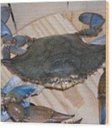 Blue Claw Crab Wood Print