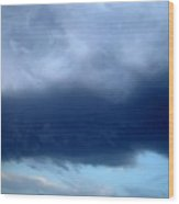 Blue Clouds One Wood Print