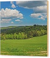 Blue Cloudy Sky Over Green Hills And Country Road Wood Print