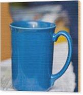 Blue Coffee Cup Wood Print