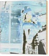 Blue Collage Wood Print