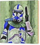 Blue Commander Stormtrooper At Work - Da Wood Print