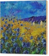 Blue Cornflowers Wood Print