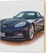 Blue Corvette Wood Print