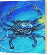 Blue Crab Abstract Wood Print