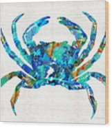Blue Crab Art By Sharon Cummings Wood Print