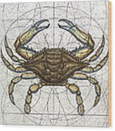 Blue Crab Wood Print by Charles Harden