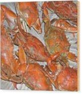 Blue Crabs Wood Print