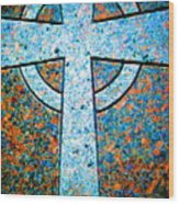 Blue Marbled Cross Wood Print