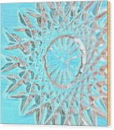 Blue Crystal Snowflake Wood Print