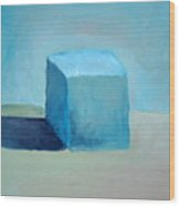 Blue Cube Still Life Wood Print