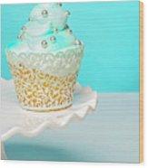Blue Cupcake Wood Print