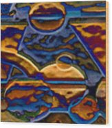 Blue Curve 3 Wood Print